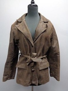 Vera Pelle Solid Leather Button Belted Sma8774 Brown Jacket