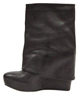 Vera Wang Lavender Leather Wedge Fold Over 250966as Charcoal grey Boots