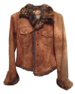 Vericci Leather Tan with Multi-Colored Fur and Lining Leather Jacket