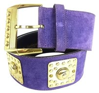 Versace Auth Gianni Versace Vintage Belt Suede Leather Gold Plated Purple F/S 7831eRN