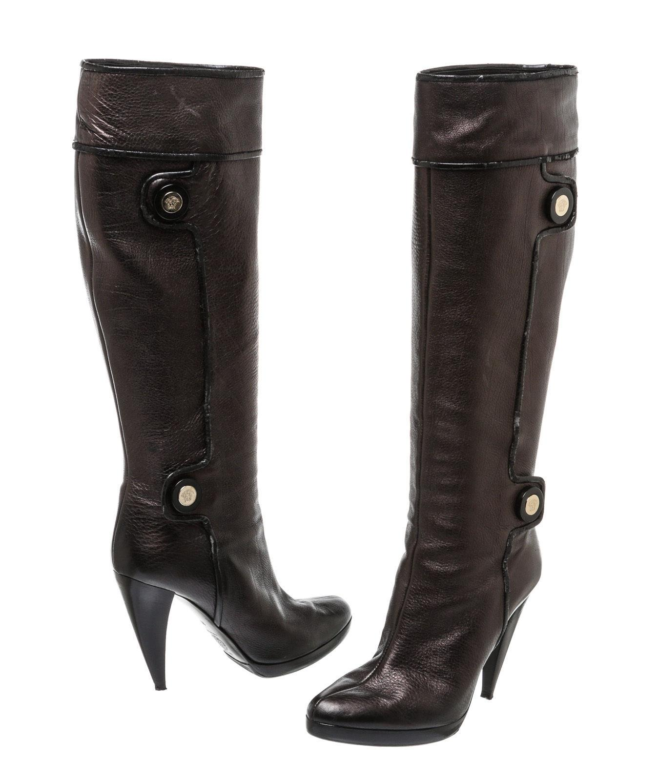 clearance geniue stockist Versace Suede Knee-High Boots w/ Tags factory outlet for sale cheap clearance free shipping cost IOc1HV