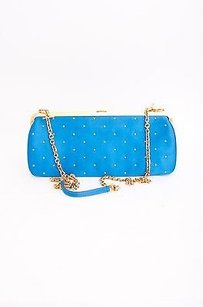 Versace Gianni Vtg Kelis Vtg Gold Studded Satin Chain Evening Blue Clutch