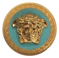 Versace NEW Versace Blue Enamel Gold Tone Classic Iconic Medusa Coin Ring BOX