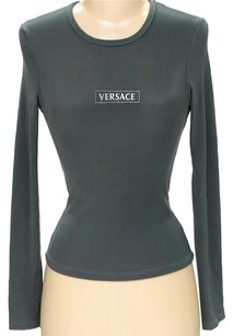 Versace Signature Embroidered Jersey Top Grey