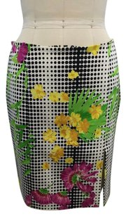 Versace Jeans Couture Black White Dot Floral Print Slit 2842 Skirt Multi-Color