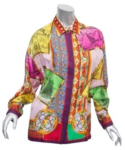 Versace Gianni Couture Womens Vintage Silk Barocco Shirt Top Multi-Color