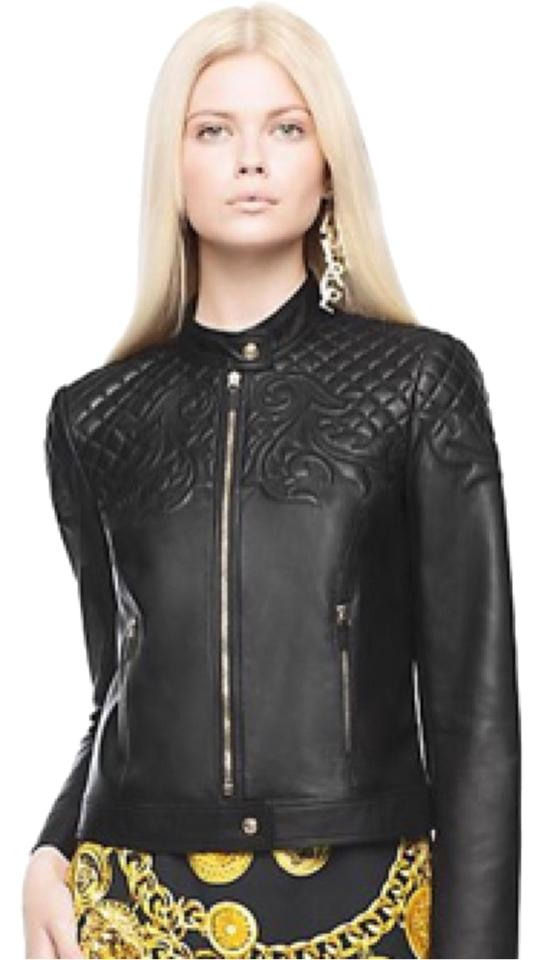 Versace Vanitas Barocco Black Leather Jacket