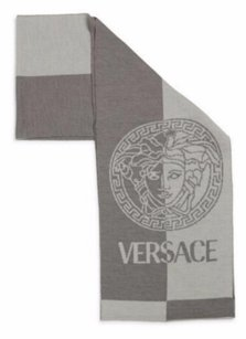Versace VERSACE 100% Wool Medusa Head Logo Gray Men's Scarf