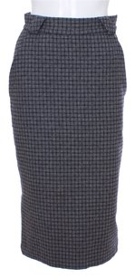 Versace Vintage Wool Checkered Skirt Gray
