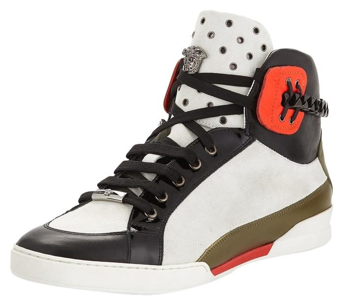 Versace- Leather High-Top Sneaker, Black/White