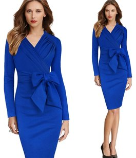 VfEmage Women Elegant Faux Wrapped Ruched Detachable Belted Bowknot Wear to Work Office Stretch Bodycon Fitted Dress