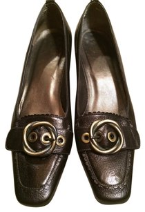 Via Spiga Leather Flats Heels Black chocolate brown Pumps