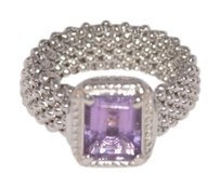 Vicenza Vicenza Amethyst and Sterling Silver Mesh Ring