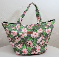 Victoria's Secret Pink Xl Floral Leopard Green Flower Tote in Gray