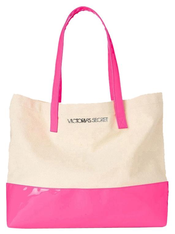 Victoria's Secret Colorblock Hot Pink/beige Beach Tote Beige/Pink ...