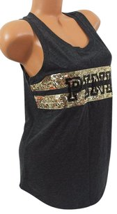 Victoria's Secret Pink Smuscle Tankcharcoal Gold Sequin Bling T Shirt Black