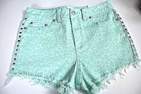 Victoria's Secret Pink Cheeky Denim Cheetah Bling Cut Off Shorts Green