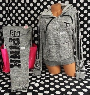 Victoria's Secret Pink Set Bling Zip Pant Marled Sweatshirt