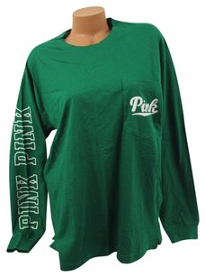 Victoria's Secret Pink Campus Pocket Script T Shirt Green