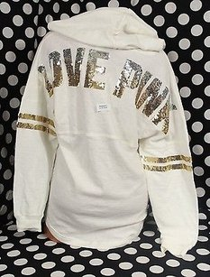 Victoria's Secret Pink Bling Sequin Varsity Fashion Show Sweatshirt