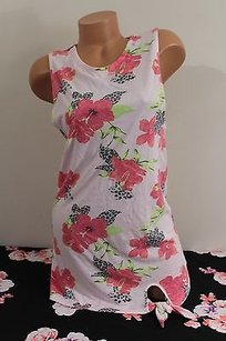 Victoria's Secret Floral Leopard Tank Tunic Mini Dress Coverup T Shirt Pink