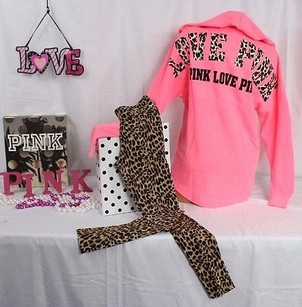 Victoria's Secret Set Varsity Pullover Leopard Leggingcoral Sweatshirt