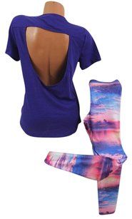 Victoria's Secret Pink Cutout Tee Tropical Nights Legging T Shirt Purple