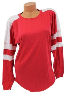 Victoria's Secret Pink Teeredwhite Stripe T Shirt Red