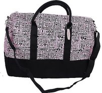 Victoria's Secret Love Vs Weekender Tote Travel Duffle Signature Pink Black Travel Bag