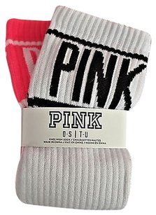 Victoria's Secret Victorias Secret Pink 2pr Knee-high Socks One Size Black White Pink Stripe