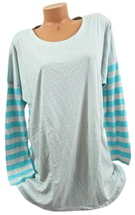 Victoria's Secret Victorias Secret Xlangel Sleep Teelong-sleeve Mint Blue Polka Dotsstripes