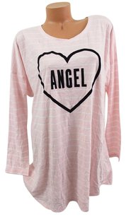 Victoria's Secret Victorias Secret Xlangel Sleep Teelong-sleeve Heart Pinkwhite Stripe