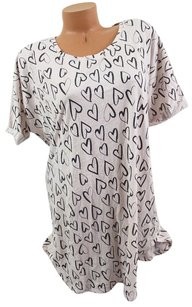 Victoria's Secret Victorias Secret Lheart Printsoft Sleep-shirt Pajama Whitelt Gray Black
