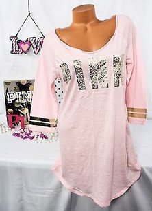 Victoria's Secret Victorias Secret Pink Pajama Sleep Shirt Light Pinkgold Foil Aztec
