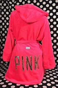 Victoria's Secret Victorias Secret Pinkmlhooded Cozy Spa Robe Luxury Plush Hot Pink Gold Bling
