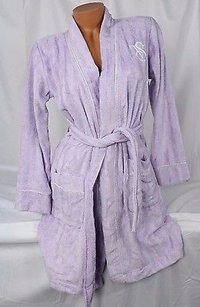 Victoria's Secret Victorias Secret Terry Short Bath Robe Lilac Subtle Purple Stripes