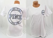 Victoria's Secret Pink Xscampus Pocket Blue Bling Circle T Shirt White