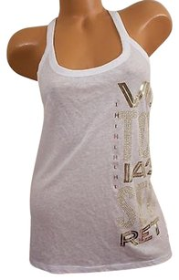Victoria's Secret L Supermodel Essentials Tank Gold Bling Cute T Shirt White