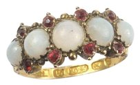 Other ANTIQUE ENGLISH 15K GOLD OPAL & RUBY PASTE VICTORIAN PERIOD RING c1874