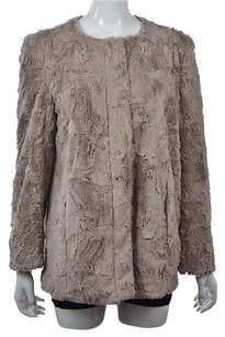 Vince Camuto Womens Basic Long Sleeve Faux Fur Casual Coat Beige Jacket