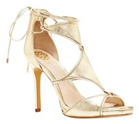 Vince Camuto Rae Geo Panel Lace Up High Heel gold Pumps