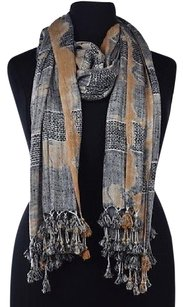 Vince Camuto Vince Camuto Womens Black Scarf One Metallic Woven Casual Fringe