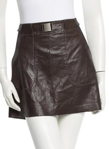Vince Leather Mini Skirt Olive Green