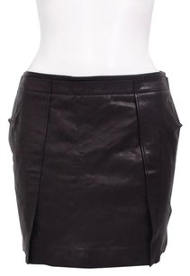 Vince Leather Pleated Side Pocket Tonal Detail Mini Dress 02 Mini Skirt Black