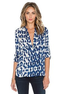 Vince White Ikat Ethnic Top Blue