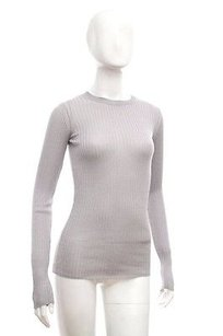 Vince Metallic Ribbed Top Silver