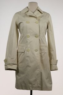 Vince Womens Ivory Trench Trench Coat