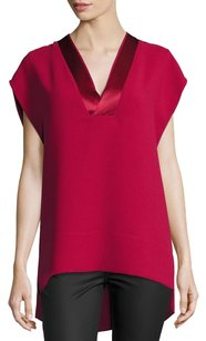 Vince V-neck Crepe Loose Top Red