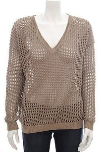 Vince Taupe Tan Grid Sd Sweater