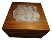 Vintage 1970s Vintage jewelry Box Wood With stone top 6 inch by 4 inch